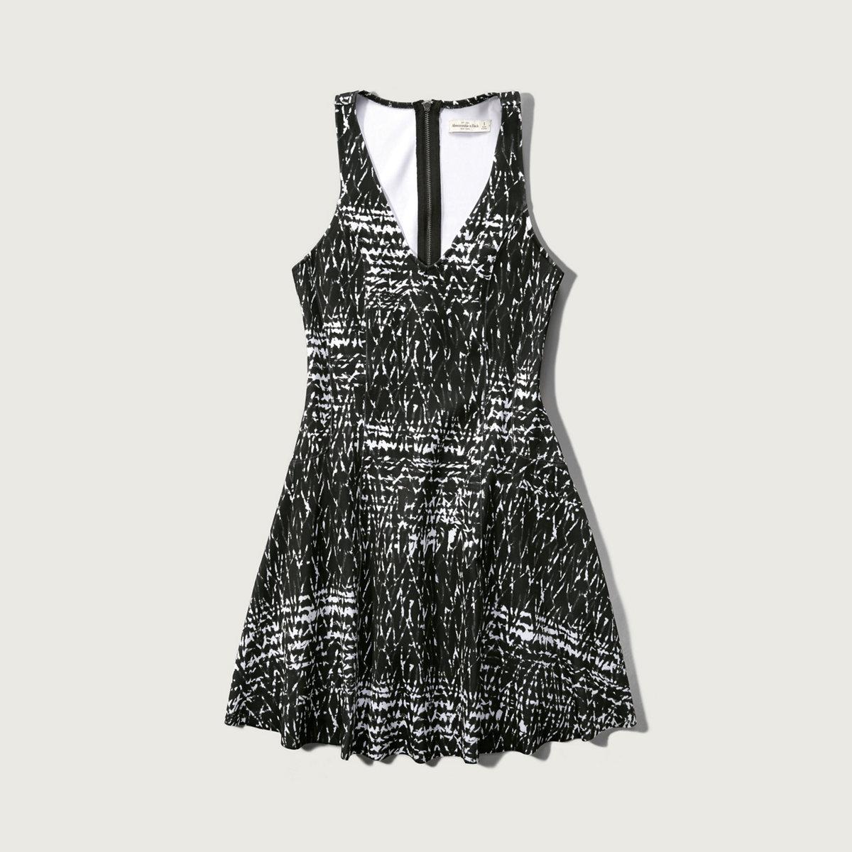 Patterned Neoprene Skater Dress