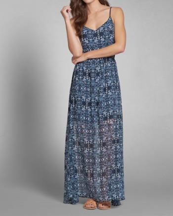 Womens Patterned Chiffon Maxi Dress