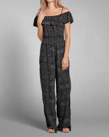Womens Patterned Ruffle Jumpsuit