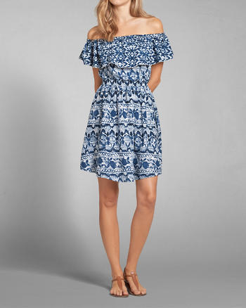 ANF Off The Shoulder Patterned Dress