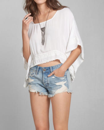 Womens Sheer Cropped Poncho