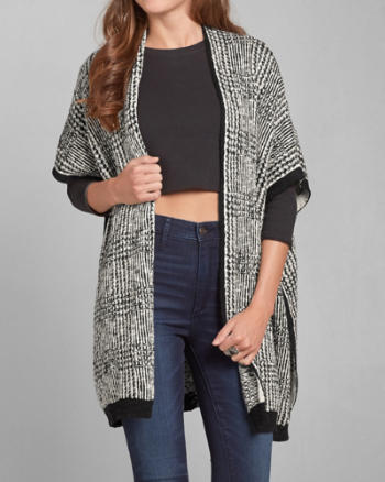 Womens Textured Poncho