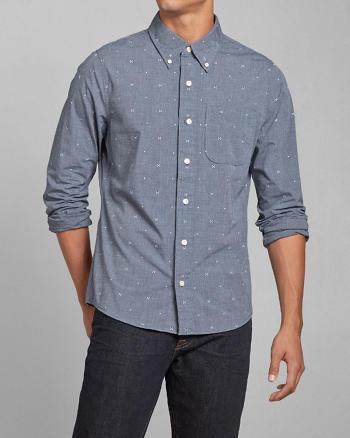 ANF Geo Print Poplin Shirt