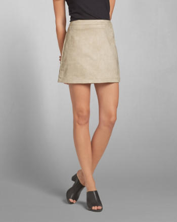 ANF Faux-Suede A-Line Mini Skirt