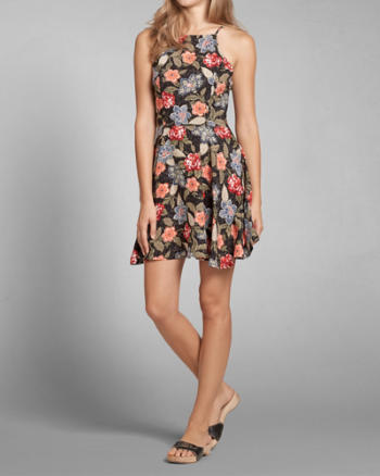 Womens Floral High Neck Skater Dress