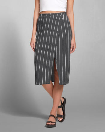 Womens Striped Wrap Midi Skirt