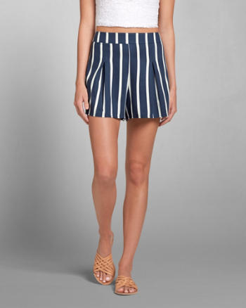 Womens Striped Pleated Culotte Shorts