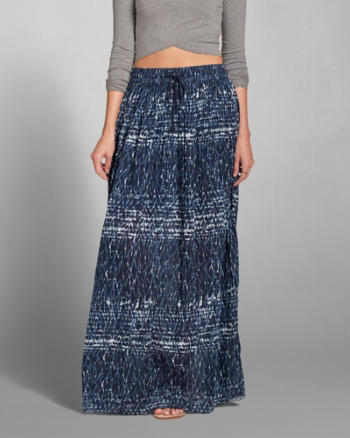 Womens Pattern Pleated Maxi Skirt