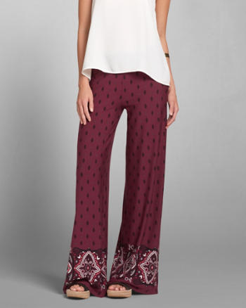 Womens Pattern Wide Leg Flare Pants