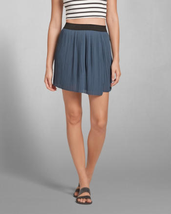 Womens Pleated Wrap Front Skater Skirt