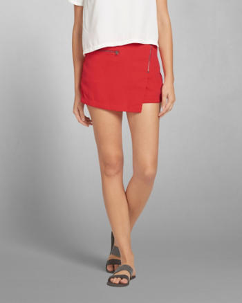 Womens Crepe Zipper Skort