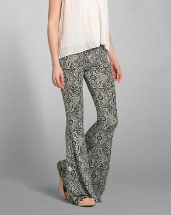 Womens Printed Flare Pants