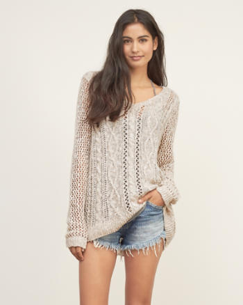 Womens Cable Knit V Neck Sweater
