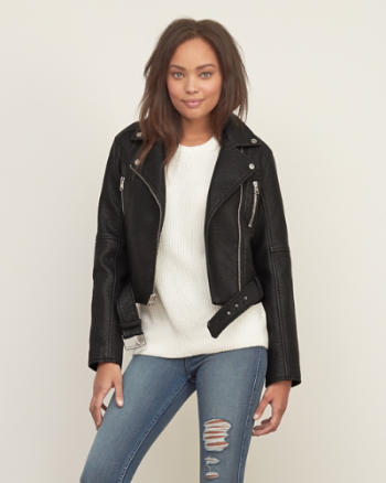 Womens Cropped Vegan Leather Moto Jacket
