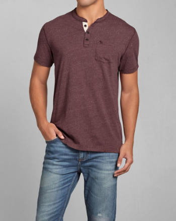 Mens Textured Pocket Henley