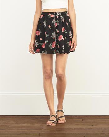 ANF Floral Zip Front Skater Skirt