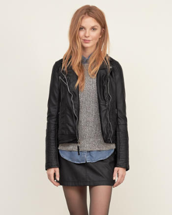 Womens Vegan Leather Biker Jacket