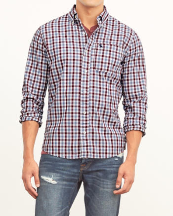 Mens Tattersall Check Poplin Shirt