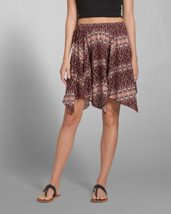 Womens Printed Drapey Skirt