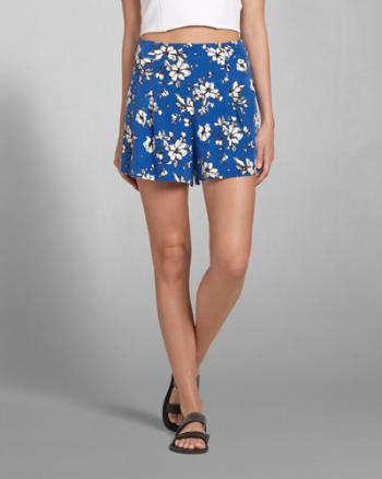 Womens Pleated Floral Culotte Shorts