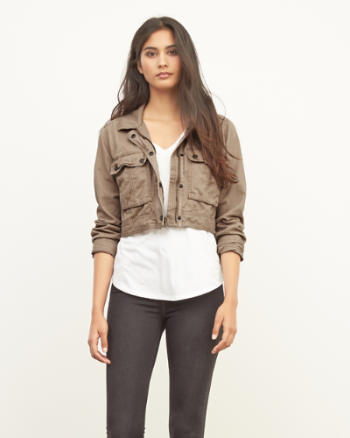 Womens Cropped Cargo Jacket