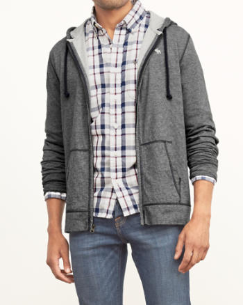 Mens Contrast Lined Lightweight Hoodie