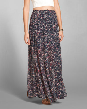 Womens Patterned Chiffon Maxi Skirt