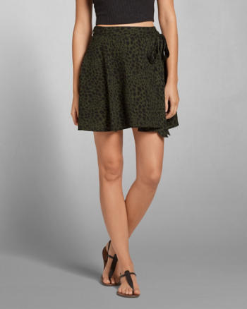 Womens Patterned Crepe Wrap Skirt