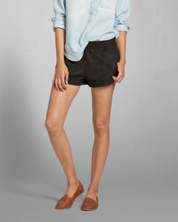 Womens Faux Suede Lounge Shorts