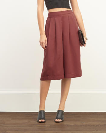 Womens Pleated Wide Leg Gauchos