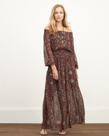 Womens Off the Shoulder Peasant Maxi Dress