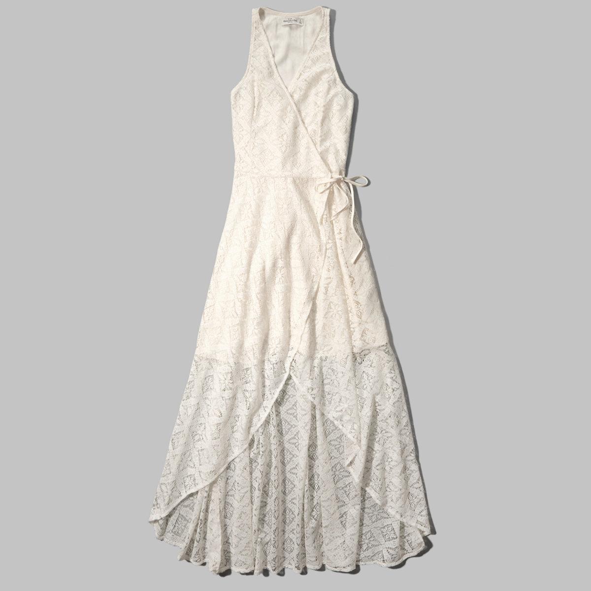 Lace Wrap Front Maxi Dress