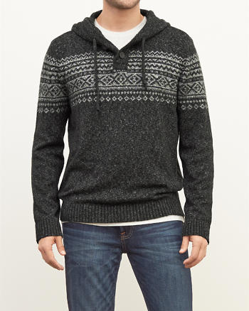 ANF Patterned Henley Hoodie