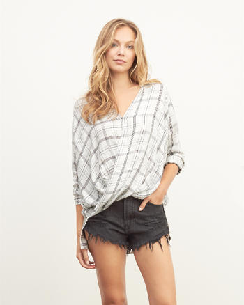 ANF Drapey Wrap Front Shirt