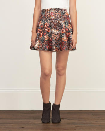 Womens Patterned Drop Yoke Skater Skirt
