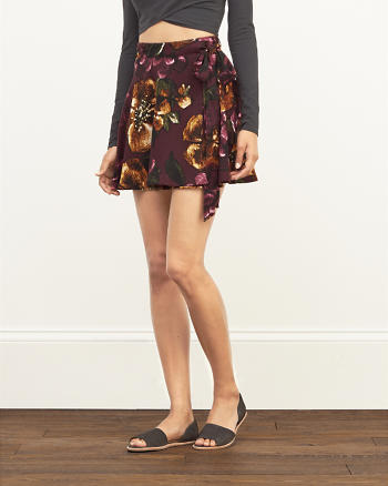 ANF Patterned Crepe Wrap Skirt