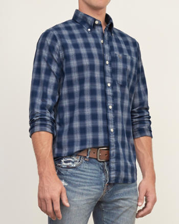 Mens Muscle Fit Plaid Twill Shirt