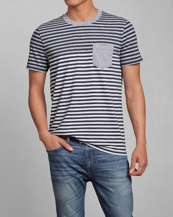ANF Striped Pocket Tee