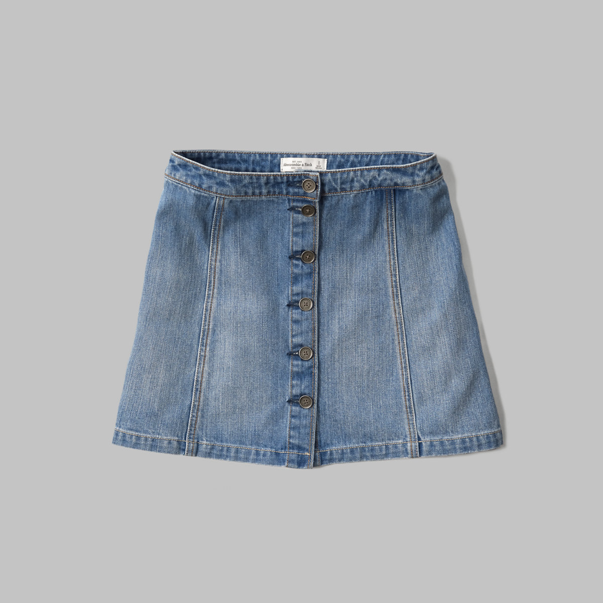 Button Front Denim Skirt