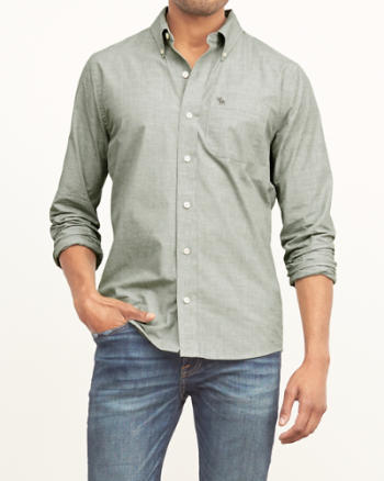 Mens Muscle Fit Poplin Shirt