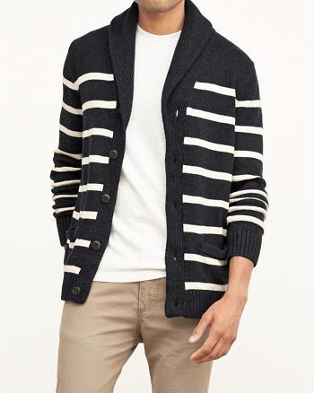 ANF Striped Shawl Cardigan