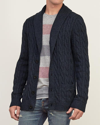 ANF Cable Knit Shawl Cardigan