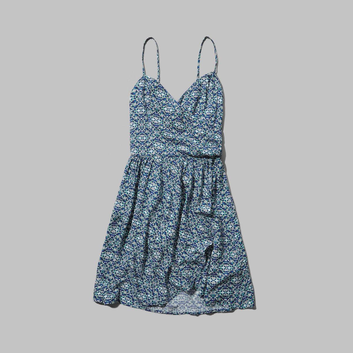 Patterned Wrap Front Skater Dress