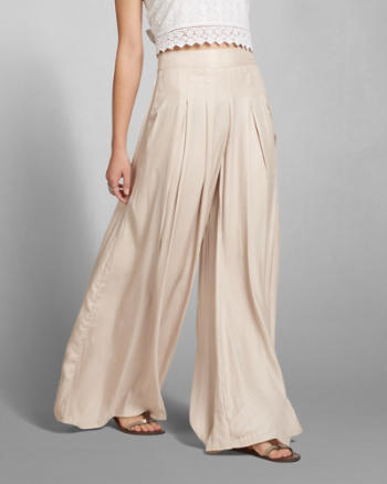 Womens Pleated Satin Drapey Pants