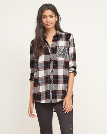 Womens Sequin Plaid Shirt