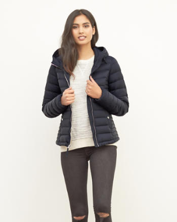 Womens A&F Down Series Hooded Lightweight Puffer Jacket