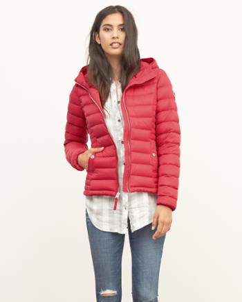 ANF A&F Down Series Hooded Lightweight Puffer Jacket