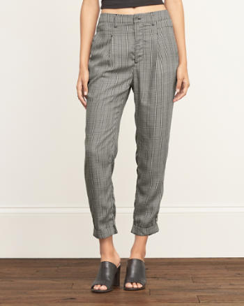 Womens Plaid Boyfriend Pants