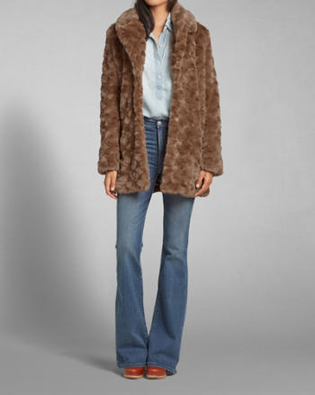 ANF Faux Fur Mid-Length Jacket