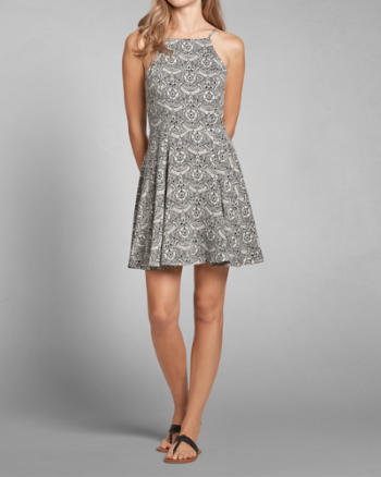 Womens Patterned High Neck Skater Dress